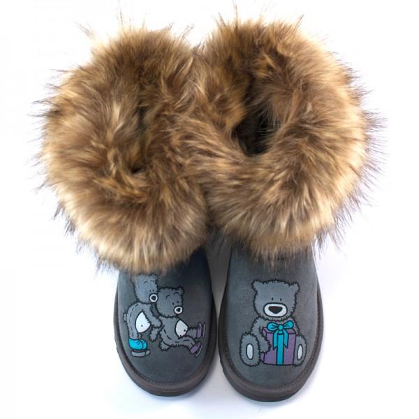 Furry Grey Skiing Teddy