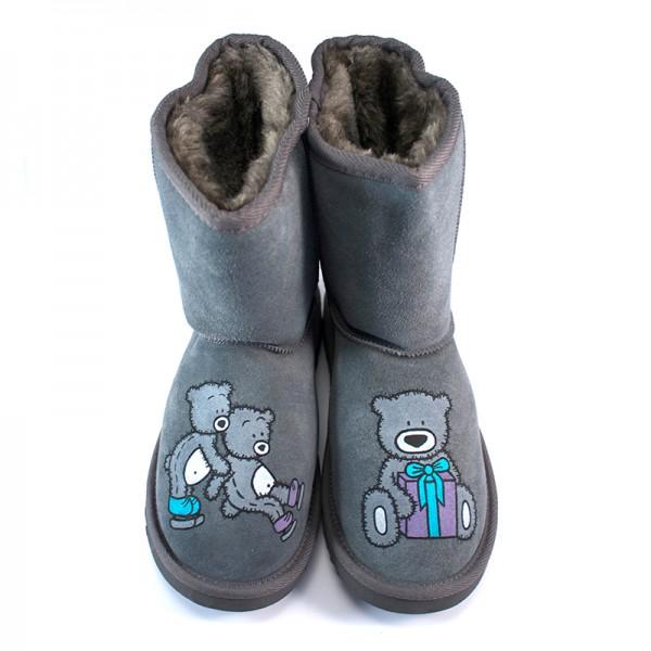 Grey Skiing Teddy